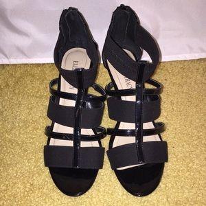 Ellen Tracy black wedge sandals